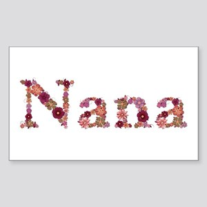 Nana Pink Flowers Rectangle Sticker