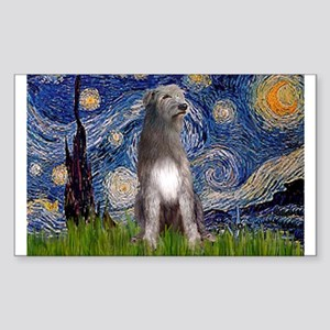 Starry/Irish Wolfhound Sticker (Rectangle)
