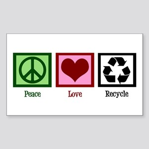 Peace Love Recycle Sticker (Rectangle)