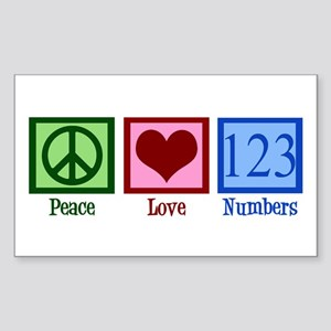 Peace Love Numbers Sticker (Rectangle)