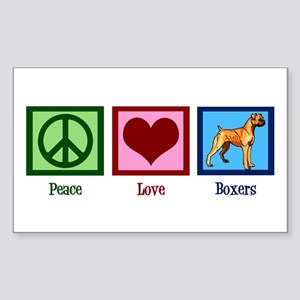 Peace Love Boxer Dog Sticker (Rectangle)