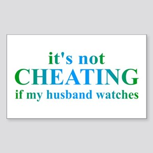 Husband Watches... Sticker (Rectangle)