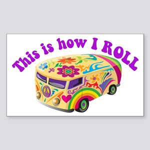 How I Roll (Hippie Van) Rectangle Sticker
