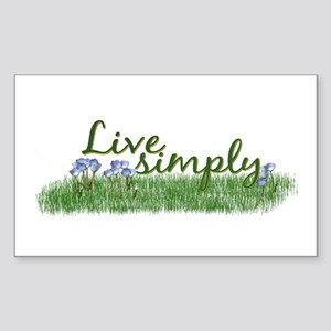Live Simply (Flowers) Rectangle Sticker