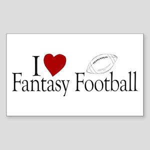 I Love Fantasy Football Rectangle Sticker