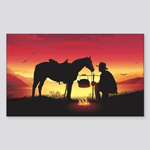 Cowboy and Horse at Sunset Sticker (Rectangle)