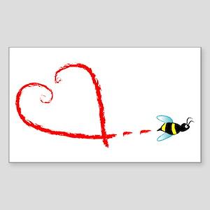 Love Bee Sticker (Rectangle)