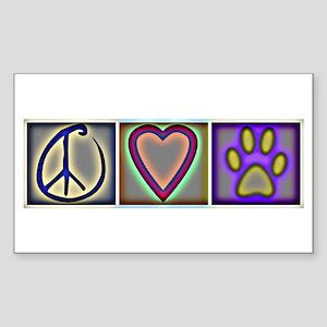 Peace Love Dogs (ALT) - Rectangle Sticker
