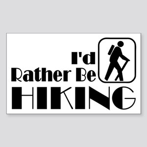 I'd Rather Be Hiking Rectangle Sticker