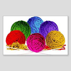 Great Balls of Bright Yarn! Sticker (Rectangle)