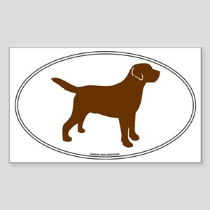 Chocolate Lab Outline Oval Sticker