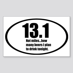 13.1 not miles...how many beer Sticker (Rectangle)