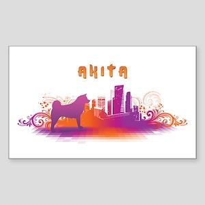 """City"" Akita Rectangle Sticker"