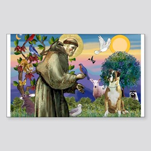Saint Francis & Boxer Sticker (Rectangle)
