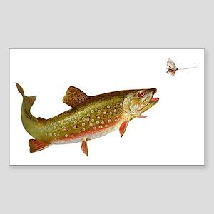 Vintage trout fishing illustra Sticker (Rectangle)