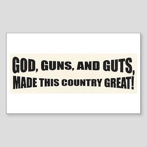 God Guns And Guts Rectangle Sticker
