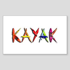 Kayak Graffiti Sticker (Rectangle)