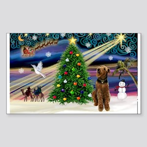 Xmas Magic & Airedale (#1) Sticker (Rectangle)