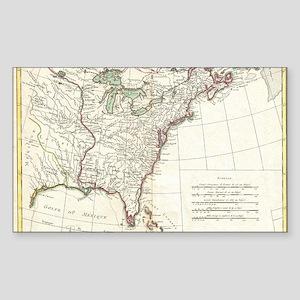 Thirteen Colonies Vintage Map  Sticker (Rectangle)