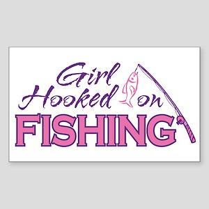 Girl Hooked On Fishing Rectangle Sticker