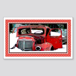 Keeshond - Old Car Christmas Rectangle Sticker