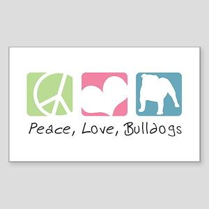 Peace, Love, Bulldogs Sticker (Rectangle)