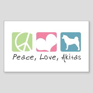 Peace, Love, Akitas Sticker (Rectangle)