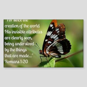 Butterfly Romans 1:20 Sticker (Rectangle)