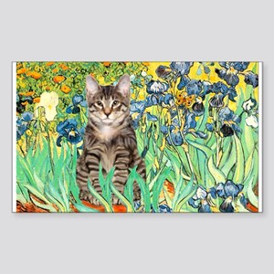 Irises / Tiger Cat Rectangle Sticker