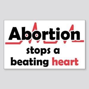 Abortion stops heart Sticker (Rectangle)