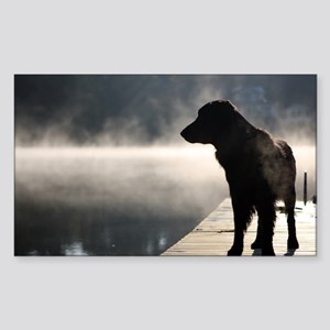 Flat Coat in the Fog Sticker (Rectangle)