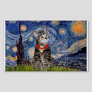 Starry Night / Tiger Cat Rectangle Sticker