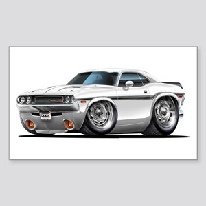 Challenger White Car Rectangle Sticker