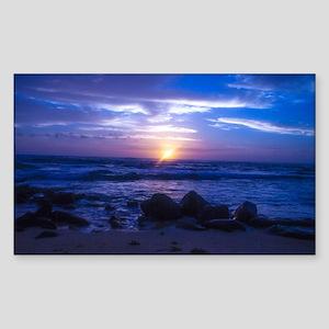 Beautiful blue Kauai sunset. Sticker (Rectangle)