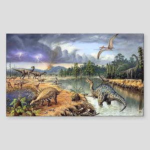 Early Cretaceous life, artwork Sticker (Rectangle)