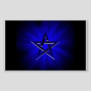 Ominous Blue Pentagram Rectangle Sticker