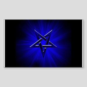Ominous Blue Inverted Pentagram Sticker (Rectangle