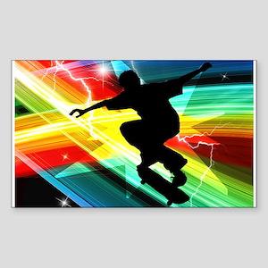 Skateboarder in Criss Cross L Sticker (Rectangle)