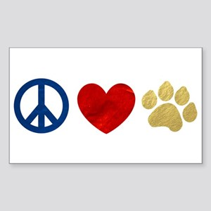Peace Love Paw Print Sticker (Rectangle)