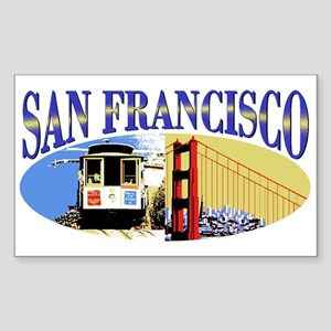 San Francisco Oval Sticker (rectangle)