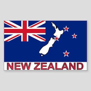 New Zealand Flag (labeled) Rectangle Sticker