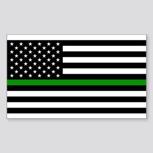 U.S. Flag: The Thin Green Line Sticker (Rectangle)