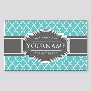 Turquoise and Gray Moroccan Qu Sticker (Rectangle)