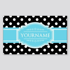 Black and White Dots Aqua Pers Sticker (Rectangle)