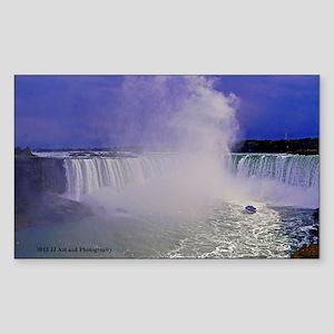 Horseshoe Falls And Boat Sticker (Rectangle)