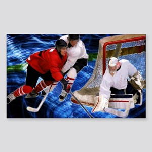 Action at the Hockey Net Sticker