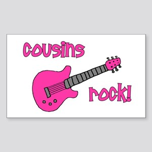 Cousins Rock! pink guitar Rectangle Sticker
