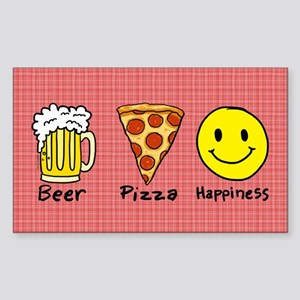 Beer Pizza Happiness Sticker (Rectangle)