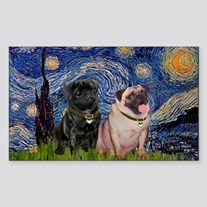 Starry Night Pug Pair Sticker (Rectangle)