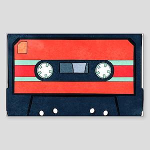 Red Cassette Sticker (rectangle)